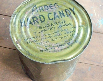Can of Candy / Large 5lb Can / In case of a Candy Emergency / Arden Hard Candy / Up to Date Candy Factory
