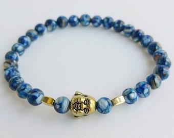 Mens bracelet - buddha bracelet - beaded bracelets - yoga bracelet - blue bracelet - stretch bracelet - protection budah - men's gift - boho