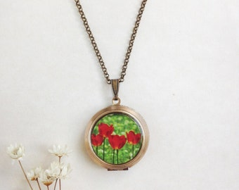 Field of Tulips Locket - Red Summer Flowers - Fine Art Photography Necklace