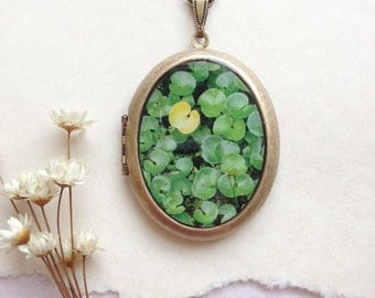 Green and Yellow Botanical Locket - 'Not Like the Others'Locket - Fine Art in Nature Photo Necklace