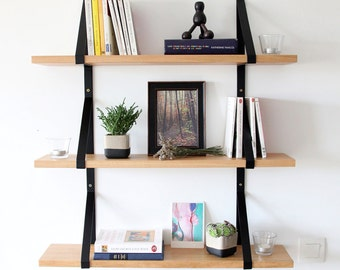 Solid wooden and steel wall shelves