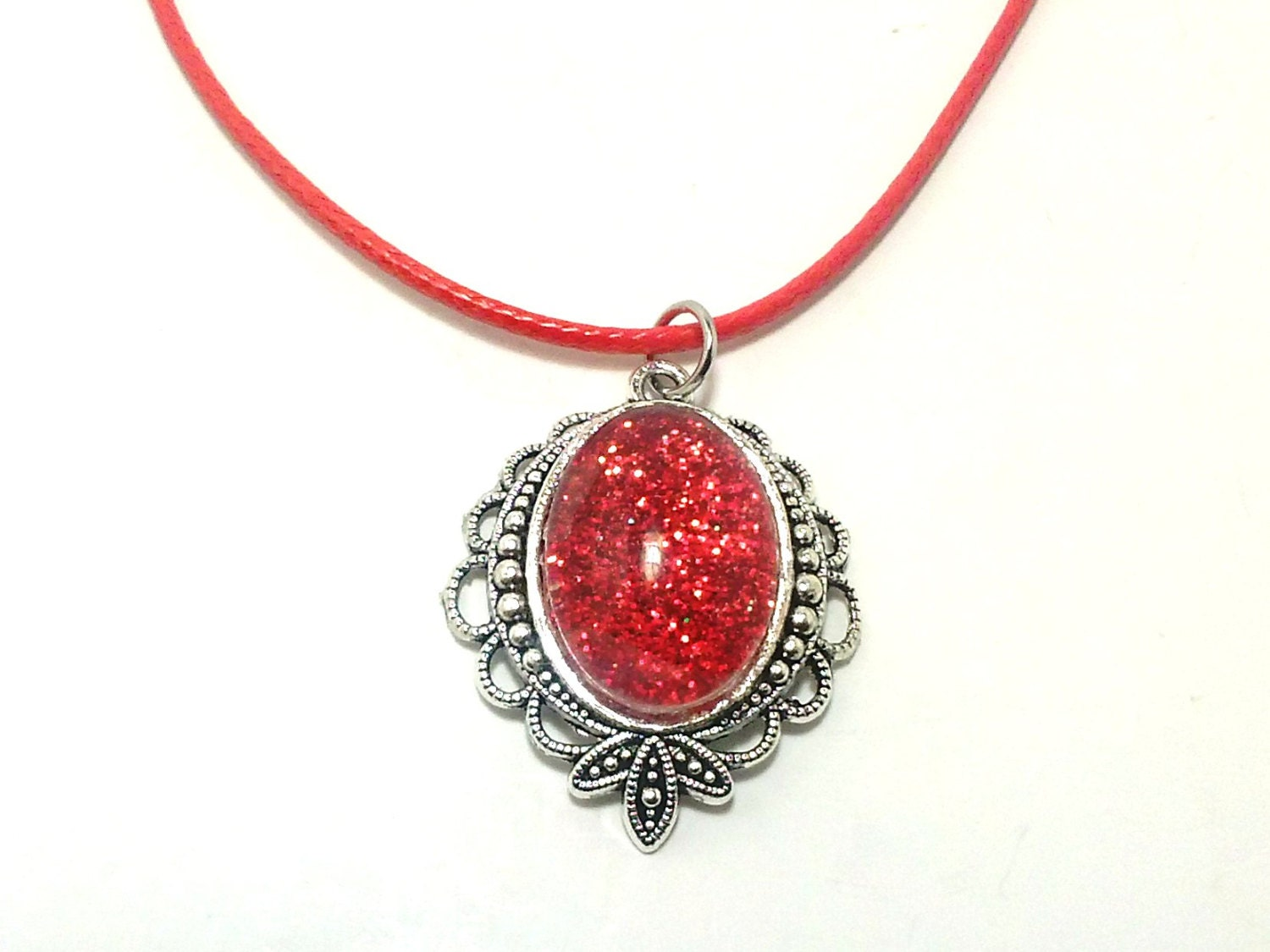 SALE Red Glitter Necklace Fashion Jewelry Teen Gifts