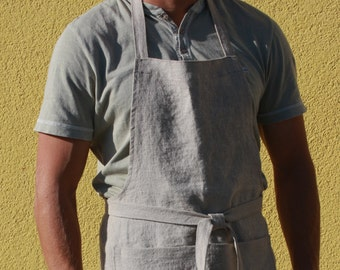 Long Linen Apron for Men - Chef apron - Handmade in Lithuania - Softened natural linen - Eco-friendly - Gift for him - Father's Day Gift