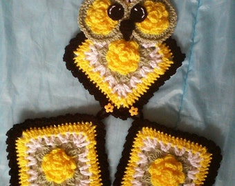 Crochet Yellow Rose Of Tesas Owl Potholder Holder Pattern only