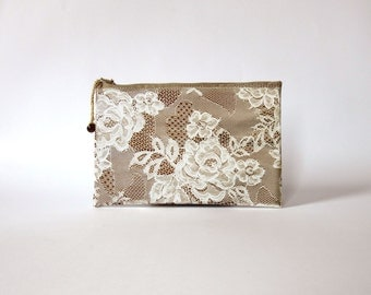 Oilcloth Lace Clutch / Makeup Bag / Cosmetic Case / Pencil case / Lace Clutch / Zippered cosmetic case
