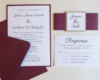 Burgundy Wedding Invitation with Belly Band, Beige and Burgundy Invitations, Invitation Belly Bands