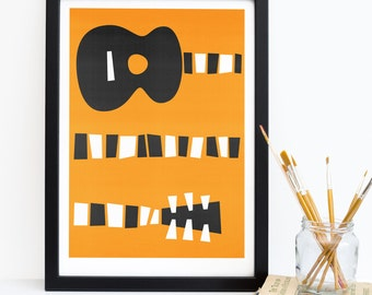 Guitar Art, Mid Century Modern Wall Print, Fathers Day, Music Poster, Living Room Wall Print, Gallery Wall, Gifts For Musicians, Orange Back