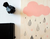 Rain cloud art. Rain cloud painting. Pink and black rain art. Cloud wall decor. Modern nursery cloud art.