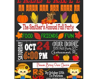 Cute animal fall party invitation, fall festival invite, unique fall festival flyer, custom fall party invitation, autumn invite INVFAL01