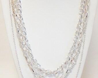 Silver Multi Strand Chain Necklace / Silver Long Necklace.