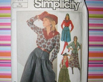 Vintage 1980s Pattern Simplicity 8257 | Cowgirl Pattern | Western Wear Skirt, Shirt and Vest