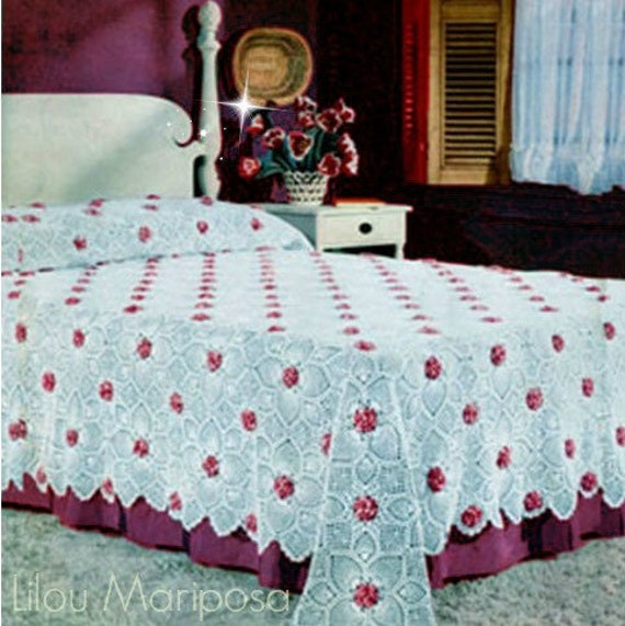 Crochet bedspread pattern vintage 70s roses and pineapple for Studio one bed cover