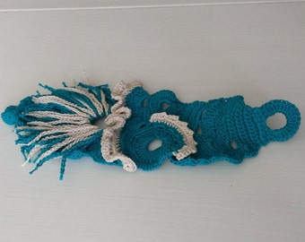 Turquoise blue and beige crochet bracelet