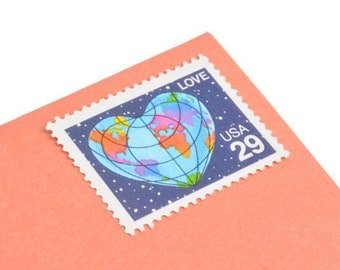 25 Love Heart Earth Stamps - 29 cents - Vintage Postage 1991 - Unused - Quantity of 25