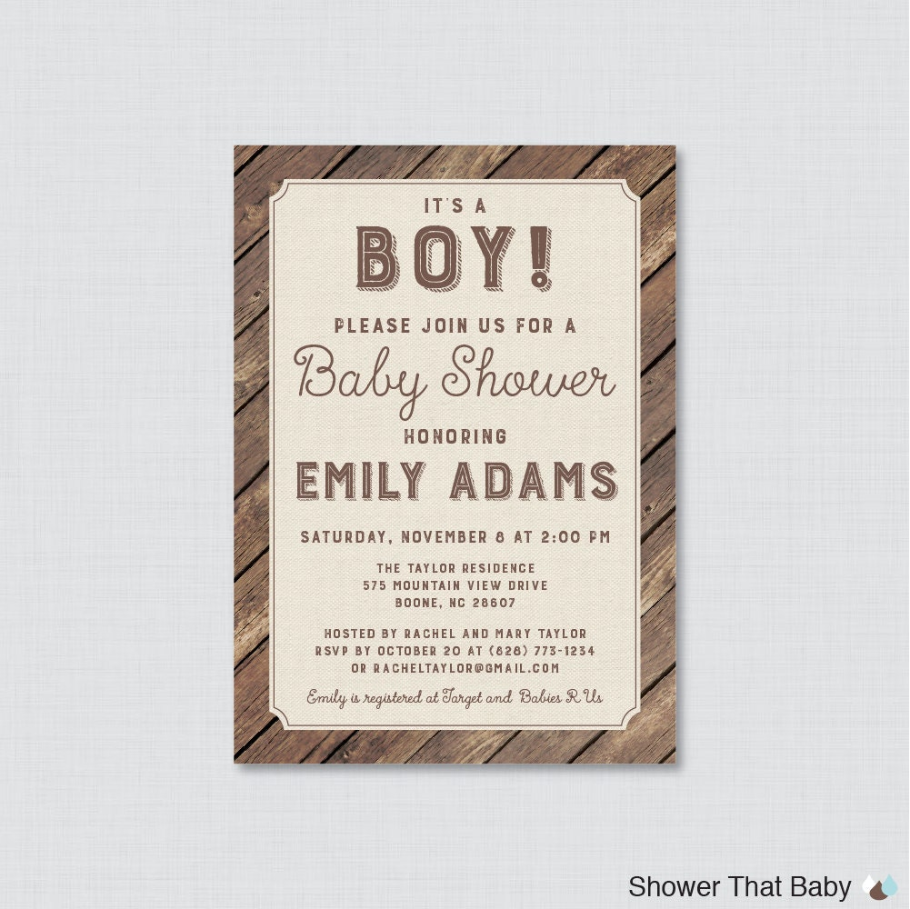 rustic baby shower invitation printable or printed wood and