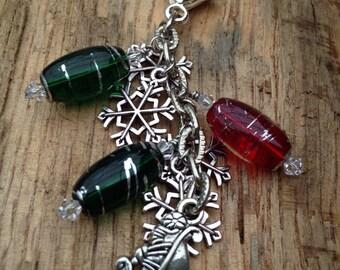 Christmas Sleigh and Snowflakes Key Chain or VERSATILE Purse Charm, Backpack Charm, Zipper Pull, Christmas Accessory, Christmas Teacher Gift