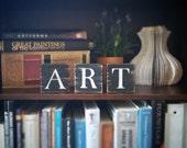 Art Sign, Art Tile Letters, Art Decor, Freestanding Wooden Letter Blocks, Wood Letter Tiles, Shabby Chic Art Sign Set, Artist Gift Idea