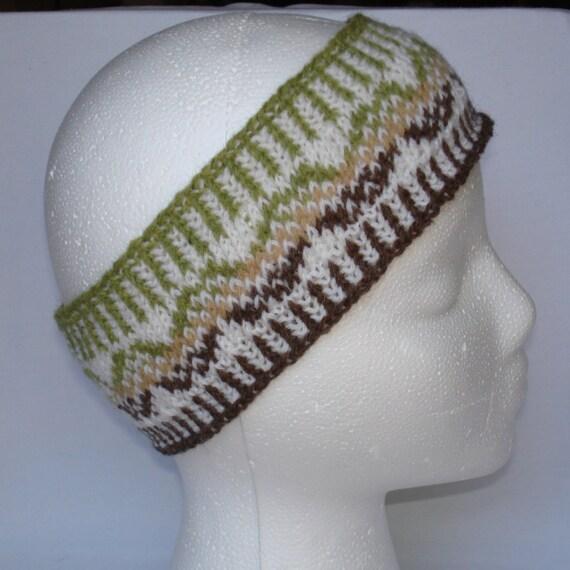 Nordic Headband Knitting Pattern : Hand Knit Nordic Fair Isle Chevron Mountains by ...