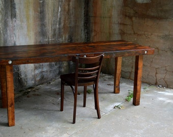 Stark Dining Table - Thick Top Reclaimed Barnwood Table on Mortised Legs