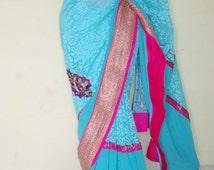Aqua blue Georgette and brasso designer saree with pink border,women fashion saree,wedding saree/Indian designer saree/ FREE GIFT INCLUDED .