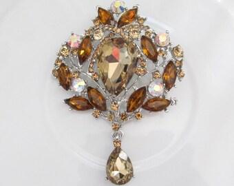 Champagne Crystal Hanging Rhinestone Brooch / Bridal Brooch / Crystal Brooch Component / SQB-29