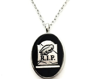RIP necklace / raven jewelry / gravestone pendant / raven necklace / gravestone necklace / RIP jewelry / gothic jewelry / halloween jewelry