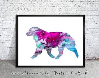Australian Shepherd Watercolor Print, Australian Shepherd art, dog art, dog print, Home Decor,dog watercolor,animal watercolor,animal art