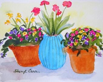 Summer Pots Watercolor Notecard