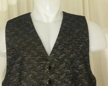 Taupe & Black Herringbone Chenille Victorian/Western/Steampunk Single Breasted Vest, Size 44R