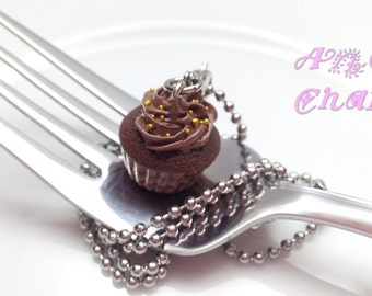 Chocolate Cupcake Charm, Food Charms, Food Jewelry, Polymer Clay Food, Miniature Food Jewelry, Chocolate,