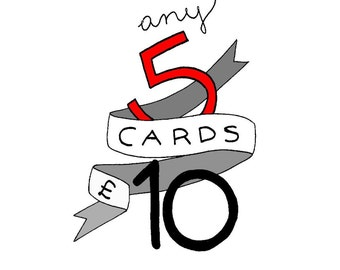 5 cards for 10 GBP * any 5 hand drawn cards * joolis cards * multi pack * 5 pack * birthday cards * wedding cards* love cards *