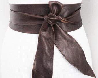 SALE! Distressed Dark Brown Obi Belt tulip tie| Waist Corset Belt | Leather tie belt | Real Leather Belt | Plus size belts| Size 0 to 30