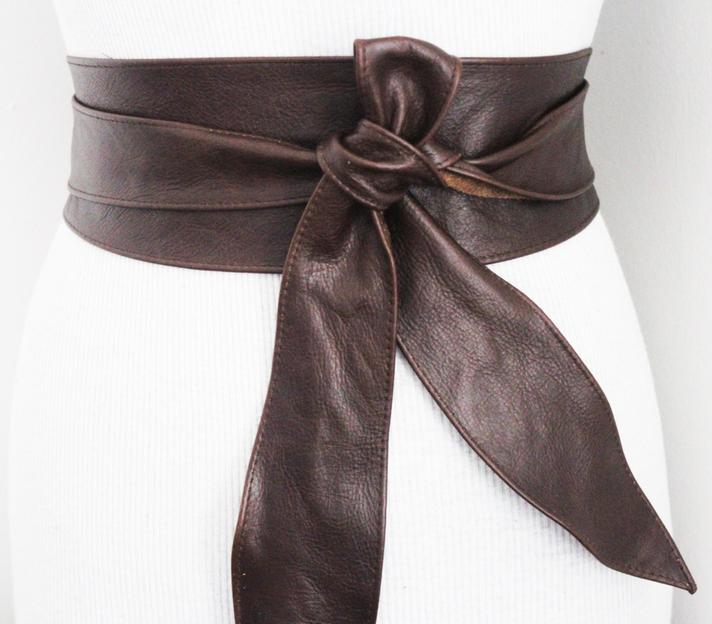 sale distressed brown obi belt tulip tie waist corset