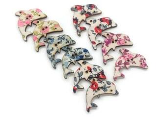 5 Dolphin buttons, sea buttons, nautical buttons, fish buttons,30mm buttons, sewing supplies, uk button supplies, scrapbook supplies
