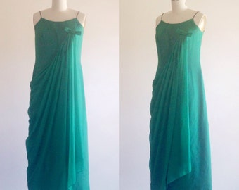 Green dress- Green gown- Formal gown- Green prom dress- Kelly green dress- Dress with bow-50s dress-60s dress-Holiday dress-Small/ Medium