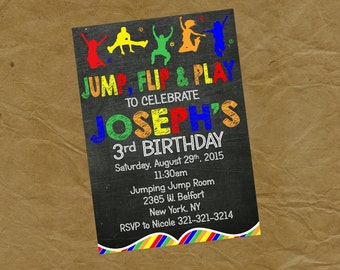 NEW Jump Flip and Play Moonwalk Birthday Party Invitation - Primary Colors - Digital or Printed