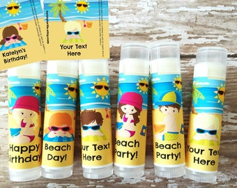 5 Pc Beach Party Lip Balm Favors-Beach Party-Beach Birthday-Beach Lip Balm-Beach Party Favor-Beach Chapstick-Hawaiian Theme Party Favors