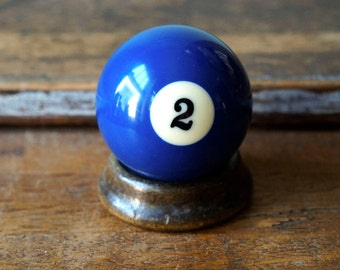 """2 II Blue Pool Ball Number Two Old Plastic Billiard Ball Standard Size 2.25"""" Color Solid Solids Retro"""