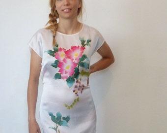 Vintage Silk Dress, Hand Painted Dress, White Floral Dress, Painted Silk Dress, 1990's Vintage, Size 8-12, White Silk Dress, 41 Inch Bust