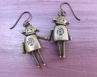 Robot man Steampunk earrings with brown niobium ear wires