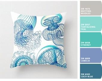 Jellyfish pillow, jellyfish art, nautical decor, nautical pillow, aqua blue white, jellyfish fabric,  Ernst Haeckel, beach pillow beach gift
