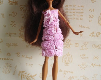 Small relief pink dress for Monster High Doll