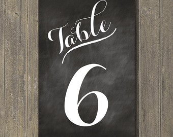 Printable Table Numbers - Rustic Chalkboard Background *** INSTANT DOWNLOAD ***