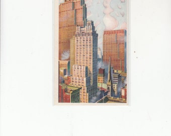 Rockefeller Center View,RCA And International Bldg. Postcard, Van Der Hope Watercolor Reproduced