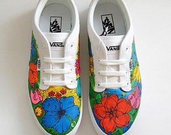 Custom Vans ® Atwood shoes colorful flowers sneakers hand painted shoes personalized unique Vans