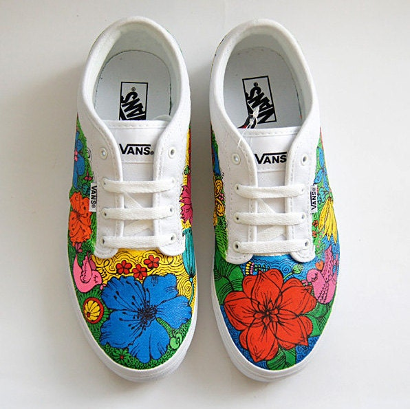 Custom Vans ® Atwood shoes colorful flowers sneakers hand