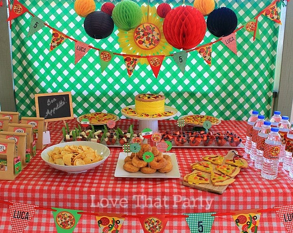 Pizza Party Decorations Printable Personalized Pizzeria