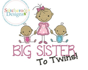 Big Sister to twins, Applique Design -In Hoop sizes  5x7, 7x7 9x9- Instant Download - for Embroidery Machines