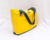 Vegan leather bag, extra large tote, bold yellow tote bag, faux leather bag, eco leather tote bag, zippered tote, fully lined, custom design