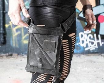 Stressed Leather Matt Black Adjustable Laser Cut Spunkhyde Logo Leg Holster Belt